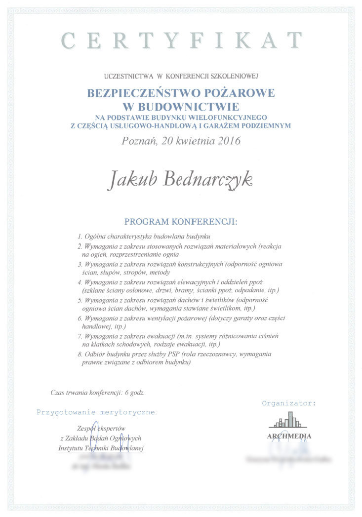 Certyfikat - bezpieczeństwo przeciwpożarowe w budownictwie