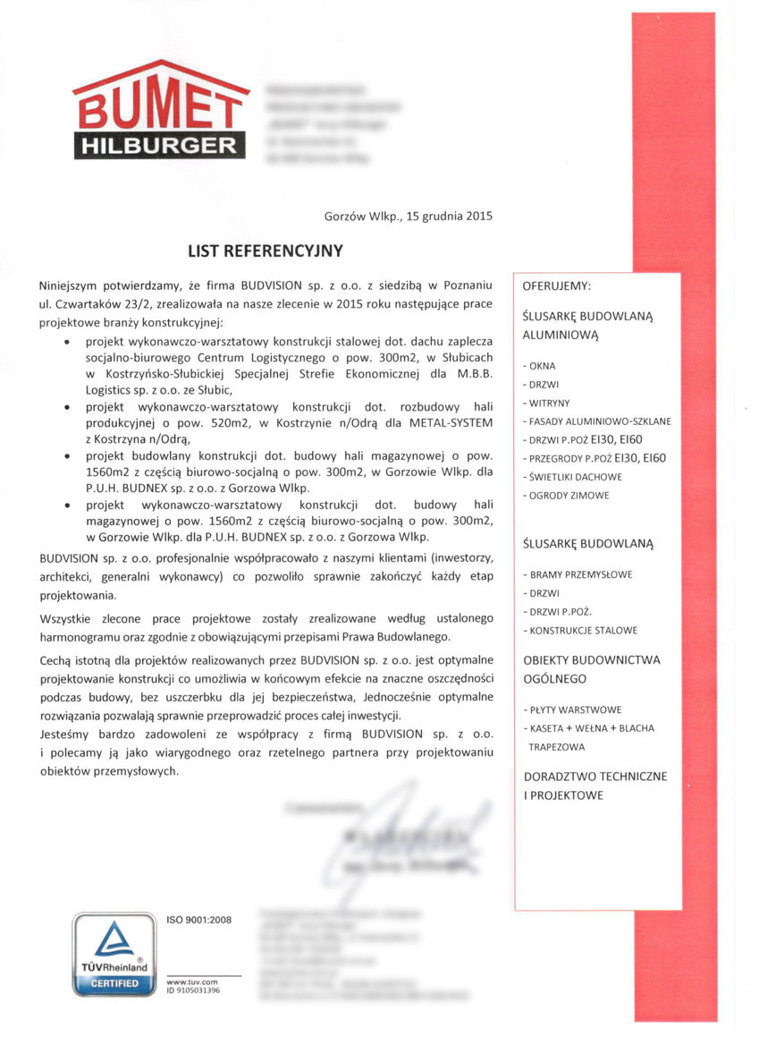 Referencje konstrukcje stalowe Bumet