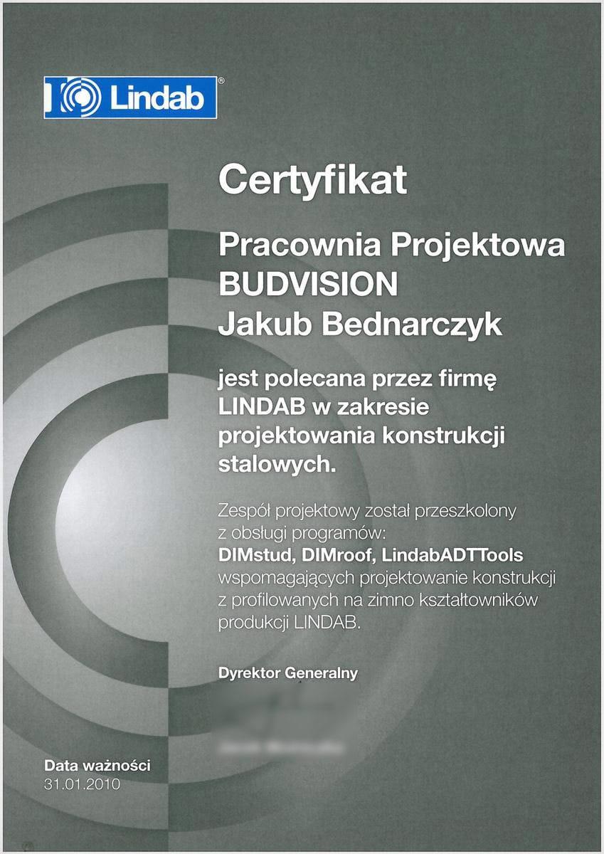Certyfikat Lindab - projektowanie konstrukcji stalowych