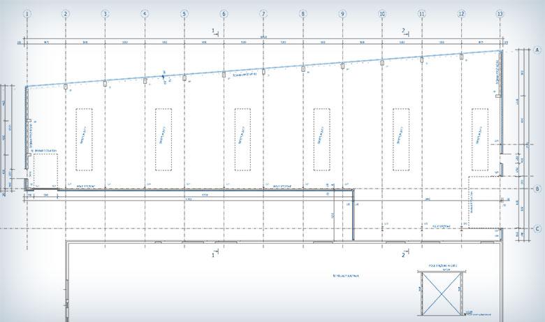 hala będzie miała nietypową bryłę – jej rzut jest w kształcie trapezu połączonego z mniejszym prostokątem.