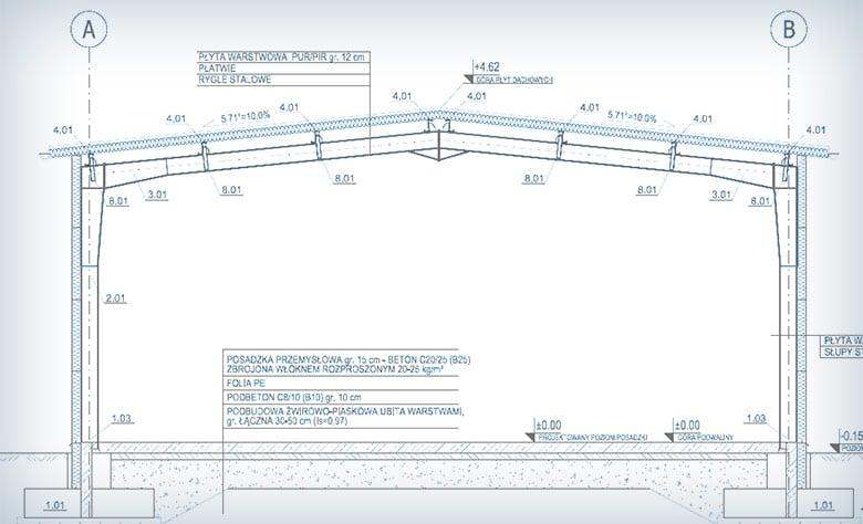 Powierzchnia projektowanej hali stalowej będzie wynosiła 310 m2, a jej wysokość w okapie 4 m.