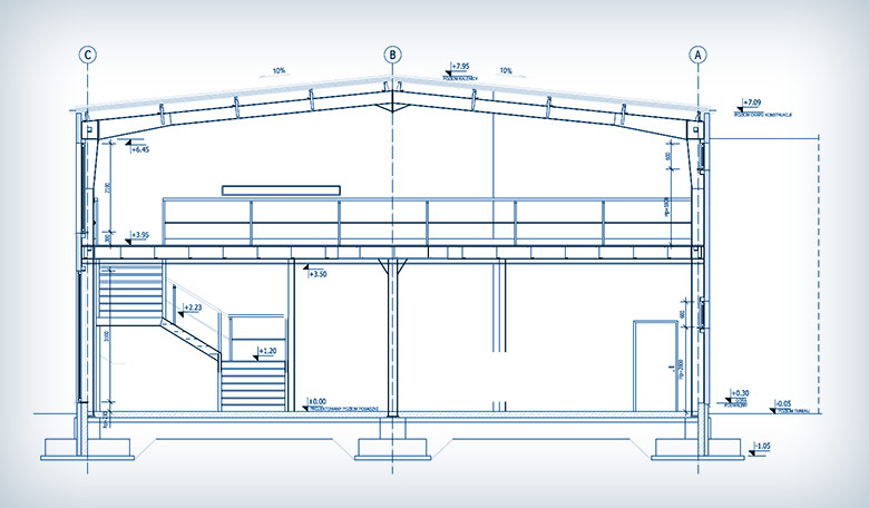 Projektowanie konstrukcji hali magazynowo-serwisowej w Mysłakowicach